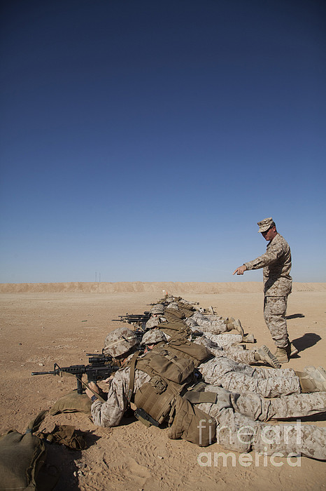 Middle East Photograph - U.s. Marine Corps Officer Directs by Stocktrek Images