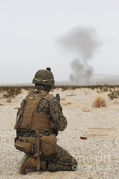 Military Photograph - U.s. Marine Provides Security As Part by Stocktrek Images