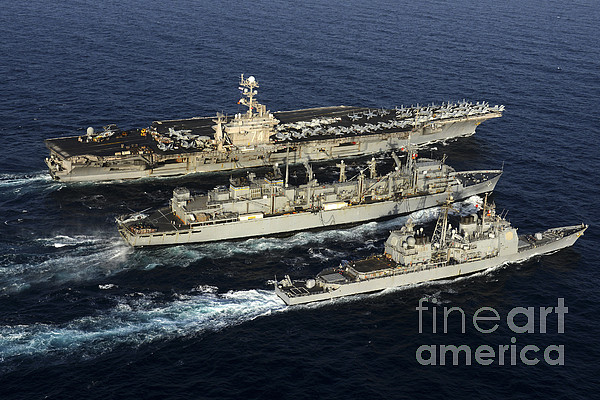 Military Photograph - Uss John C. Stennis, Uss Mobile Bay by Stocktrek Images
