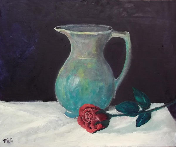 Oil Painting - Valentine Rose by Peter Edward Green