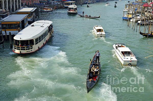 Boat Photograph - Vaporettos In Venice by Sami Sarkis