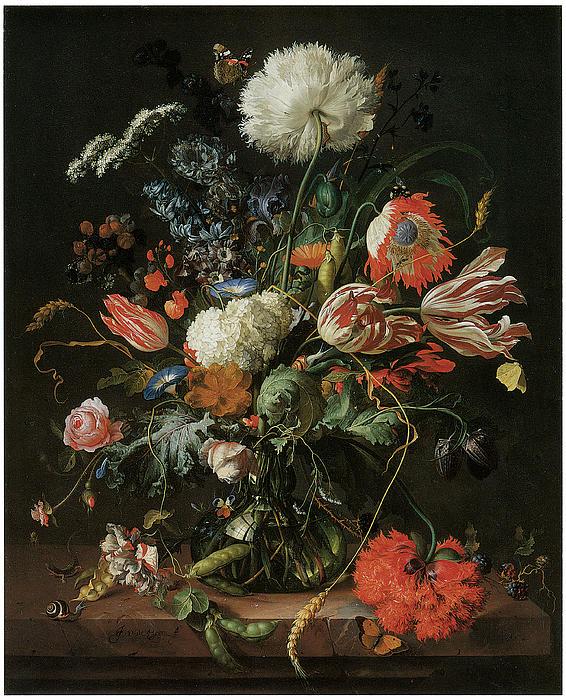 Jan Davidsz De Heem Painting - Vase Of Flowers by Jan Davidsz De Heem