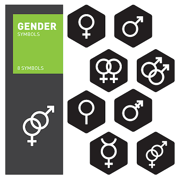 Vector Outlines Icons Of Gender Symbols And Combinations. Male, Female And Transgender Symbols. Drawing by Design U