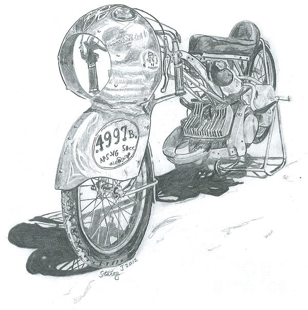 Bonneville Drawing - Very Small-very Fast by Stacey Becker