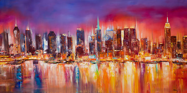 Nyc Paintings Painting - Vibrant New York City Skyline by Manit