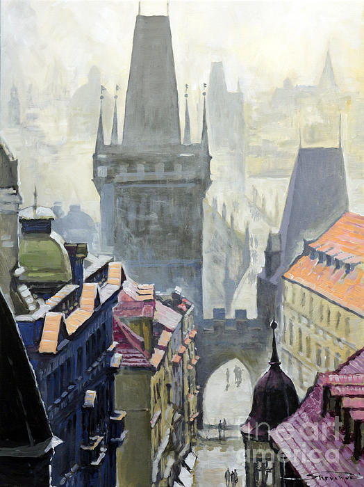 Oil On Canvas Painting - View From The Mostecka Street In The Direction Of Charles Bridge by Yuriy Shevchuk
