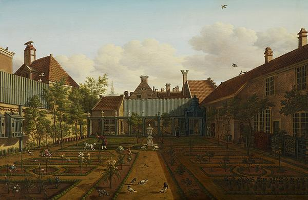 Garden Painting - View Of A Town House Garden In The Hague by Paulus Constantin La Fargue