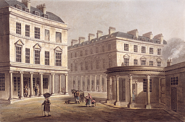 Architecture Drawing - View Of Cross Bath, Bath Street by John Claude Nattes