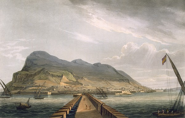 Bridge Drawing - View Of Gibraltar by Thomas Whitcombe