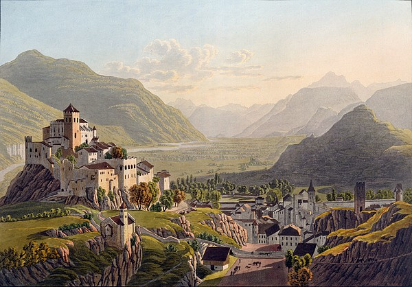 Simplon Drawing - View Of Sion, Illustration From Voyage by Gabriel L. & Lory, Mathias G. Lory