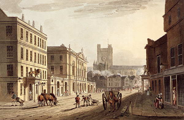 Print Drawing - View Of The Town Hall, Market And Abbey by John Claude Nattes