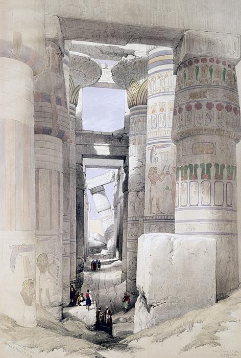 Ruins Drawing - View Through The Hall Of Columns by David Roberts