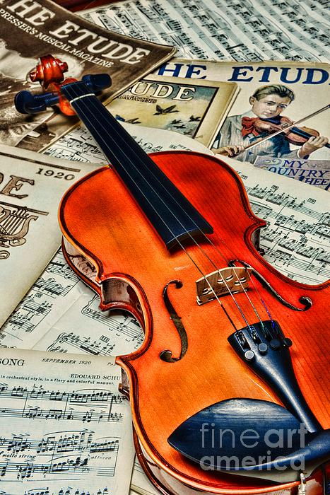 Paul Ward Photograph - Vintage Music And Violin by Paul Ward