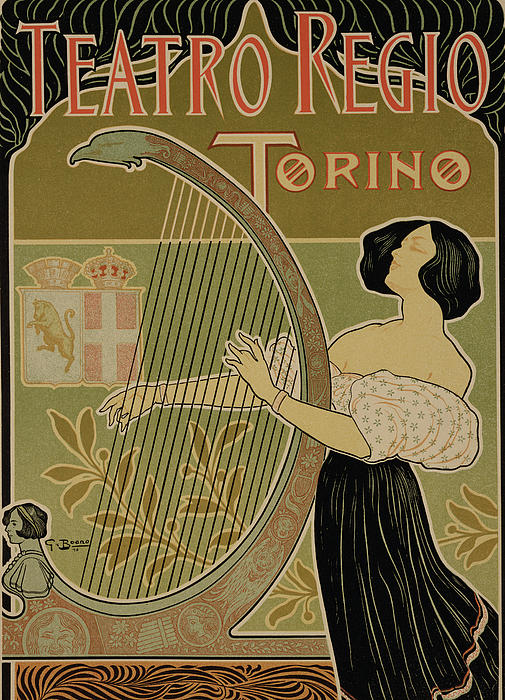 Advert Drawing - Vintage Poster Advertising The Theater Royal Turin by Italian School