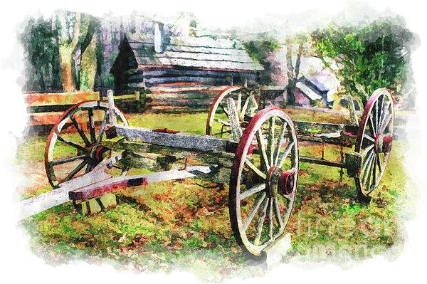 North Carolina Painting - Vintage Wagon On Blue Ridge Parkway IIi by Dan Carmichael