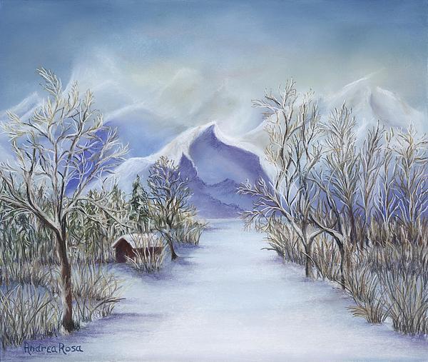 Winter Scene Pastel - Vinter Fjell by Andrea Rosa