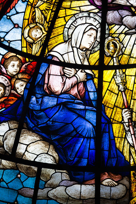 Architecture Photograph - Virgin Mary In Stained Glass by Dancasan Photography