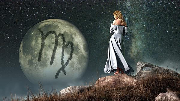 Virgo Digital Art - Virgo Zodiac Symbol by Daniel Eskridge