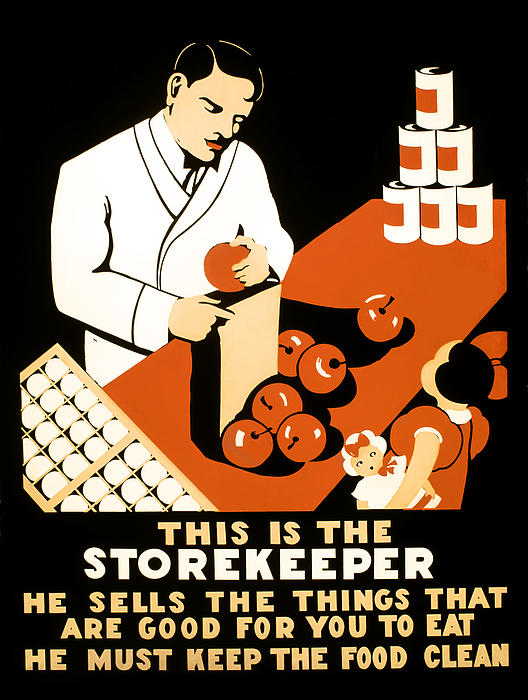 Wpa Photograph - W P A  Food Hygiene Poster C. 1937 by Daniel Hagerman