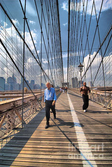 African American Photograph - Walkers And Joggers On The Brooklyn Bridge by Amy Cicconi