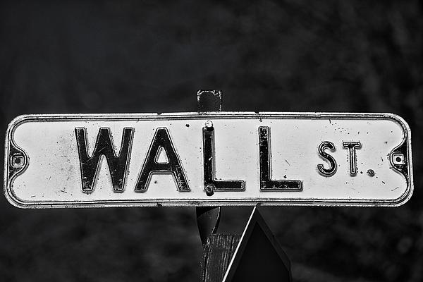 Sign Photograph - Wall Street by Karol Livote