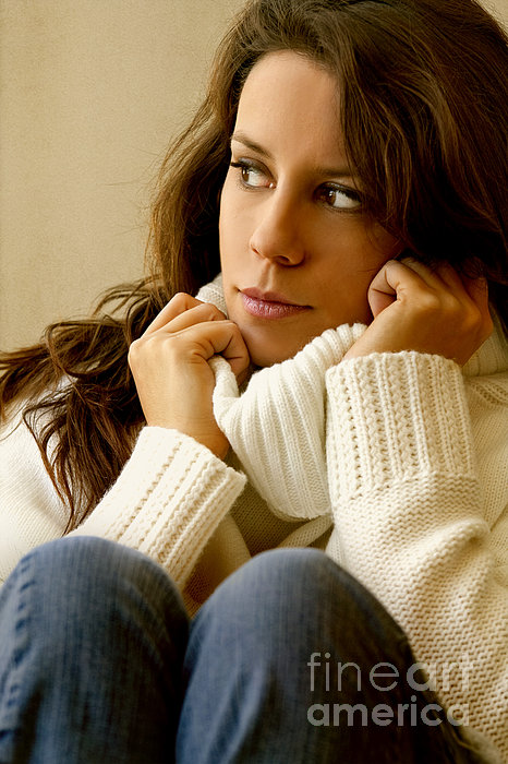 Woman; Lady; Female; Caucasian; Casual; Comfort; Comfortable; Lazy; Sweater; Warm; Warmth; Jeans; Sitting; Lounge; Lounging; Living Room; Indoors; Inside; Brunette; Alone; In Thought; Long Hair; Turtleneck Photograph - Warmth by Margie Hurwich