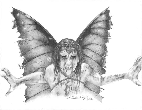 Fairy Drawing - Warrior Fairy by Carolee Conway