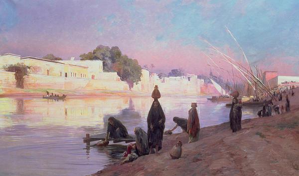 Wash Painting - Washerwomen On The Banks Of The Nile by Eugene Alexis Girardet