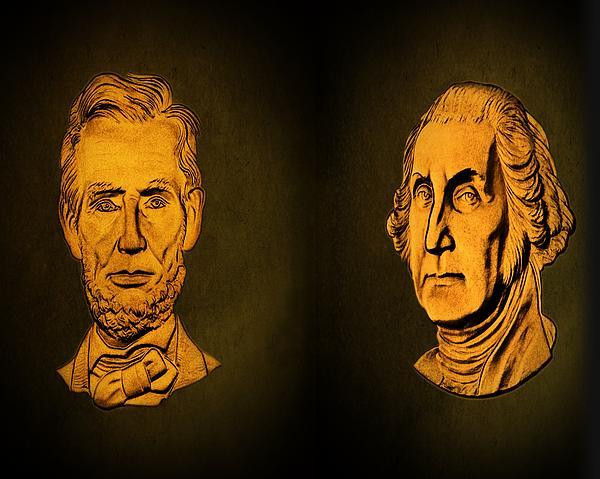 Abraham Lincoln Photograph - Washington And Lincoln by David Dehner