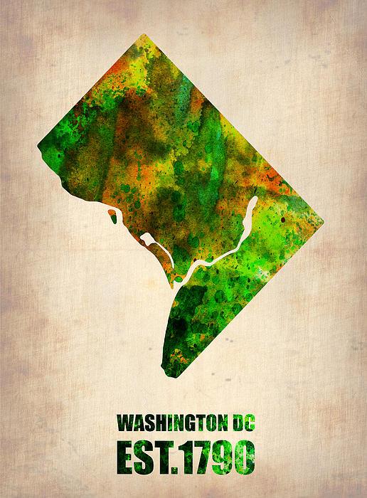 Washington Dc Digital Art - Washington Dc Watercolor Map by Naxart Studio