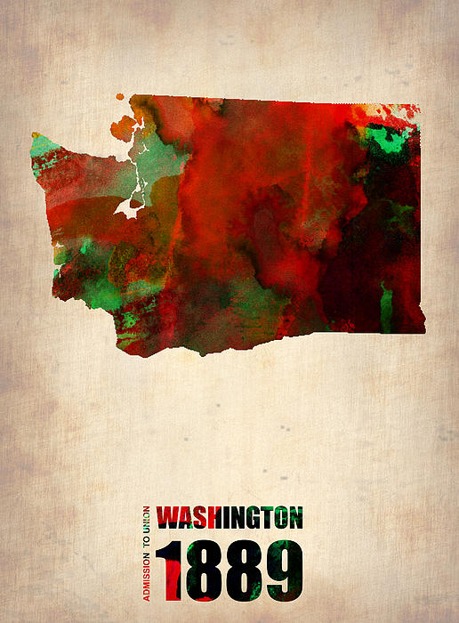 Washington Digital Art - Washington Watercolor Map by Naxart Studio