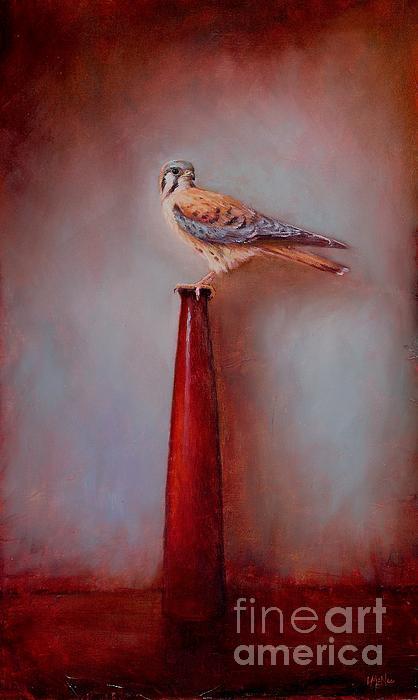 American Kestrel Painting - Watchtower - American Kestrel  by Lori  McNee