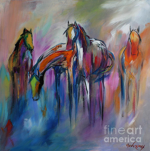 Horse Painting - Watering Hole by Cher Devereaux