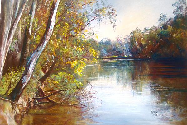 Lynda Robinson Painting - Wattle Time Goulburn River by Lynda Robinson