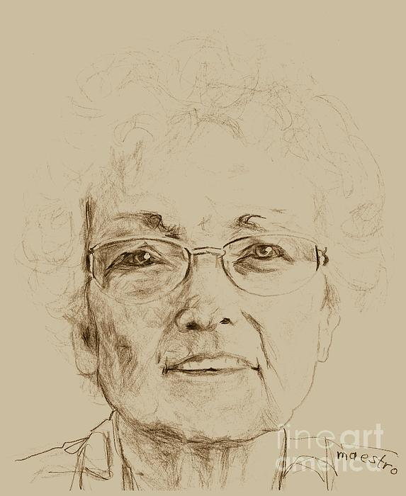 Elderly Drawing - Wava by PainterArtist FIN
