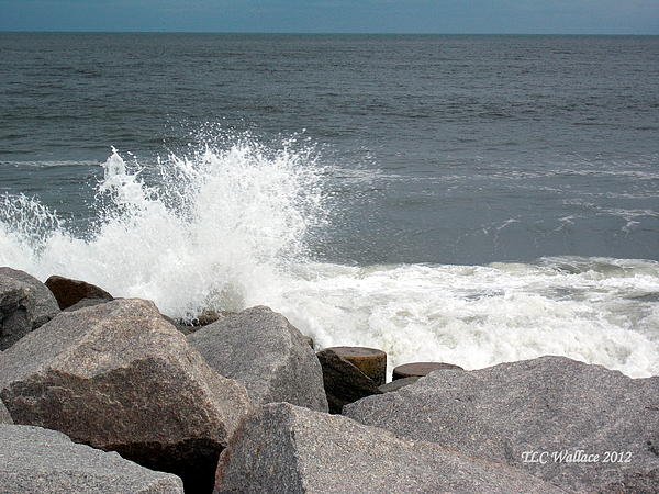 Landscape Photograph - Wave Breaks On Rocks by Tammy Wallace