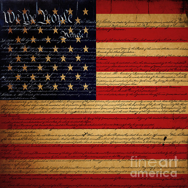 Usa Photograph - We The People - The Us Constitution With Flag - Square V2 by Wingsdomain Art and Photography