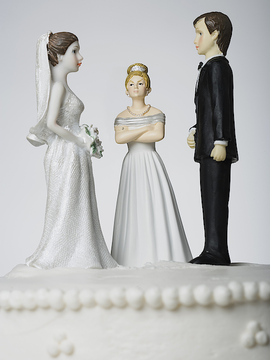 Wedding Cake Visual Metaphor With Figurine Cake Toppers Photograph by Mike Kemp