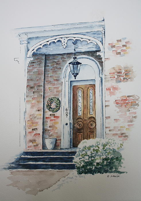 Historic Home Painting - Welcome Christmas by Patsy Sharpe
