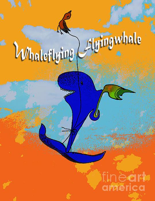 Whale Digital Art - Whale Flying Flying Whale by Mukta Gupta
