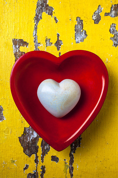 Shape Photograph - White Heart Red Heart by Garry Gay