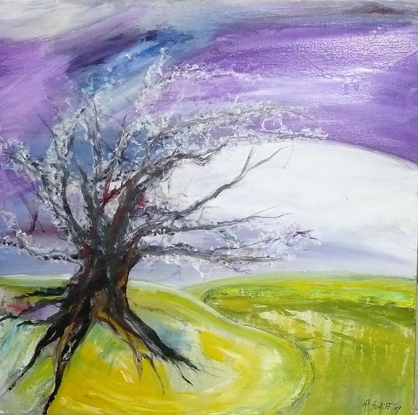 Trees Painting - White Hope  by Rachel Thompson Schiff