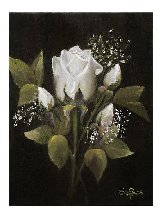 Flower Painting - White Roses by Nancy Edwards