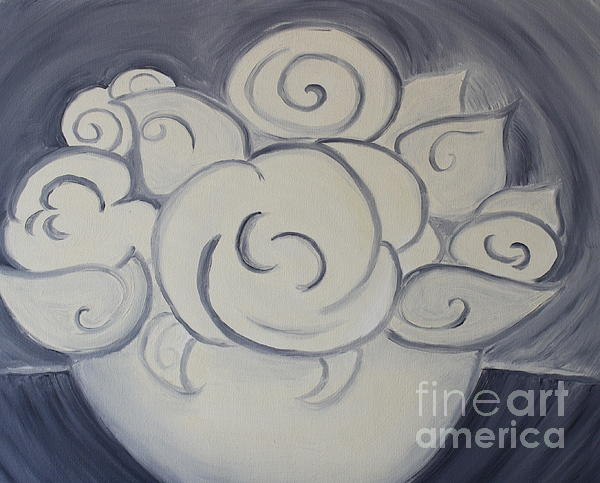 Landscape Painting - White Roses by Teresa Hutto