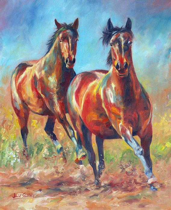 Horses Painting - Wild And Free by David Stribbling