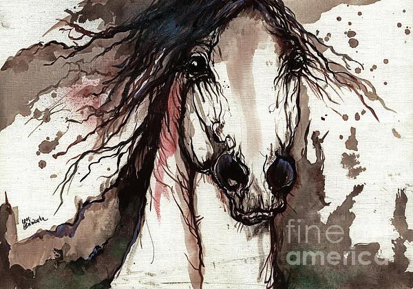 Horse Painting - Wild Arabian Horse by Angel  Tarantella