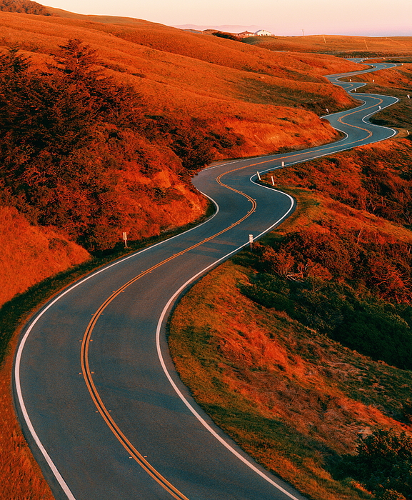 Winding Road Surrounded By Orange Countryside, Usa (brighlty Lit) Photograph by Derek Gardner