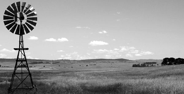 Windmill Photograph - Windmill On The Plains - Black And White by Kaleidoscopik Photography