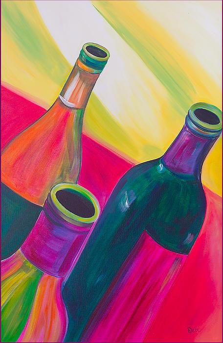 Wine Painting - Wine Bottles by Debi Starr