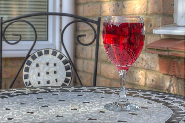 Alcohol Photograph - Wine Glass On Table Al Fresco by Fizzy Image